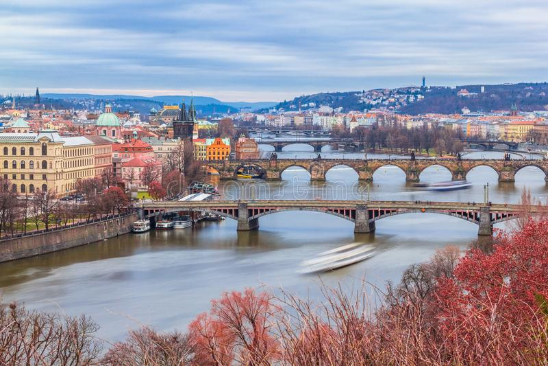 布拉格冬天视图  免版税图库摄影
