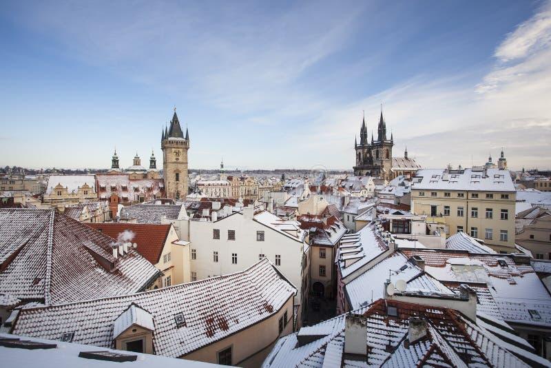 布拉格冬季历史中心 免版税图库摄影