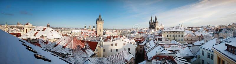 布拉格冬季历史中心 库存照片