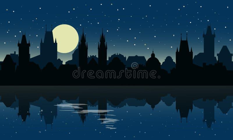 布拉格剪影在晚上 与反射的城市地平线在水中 库存例证