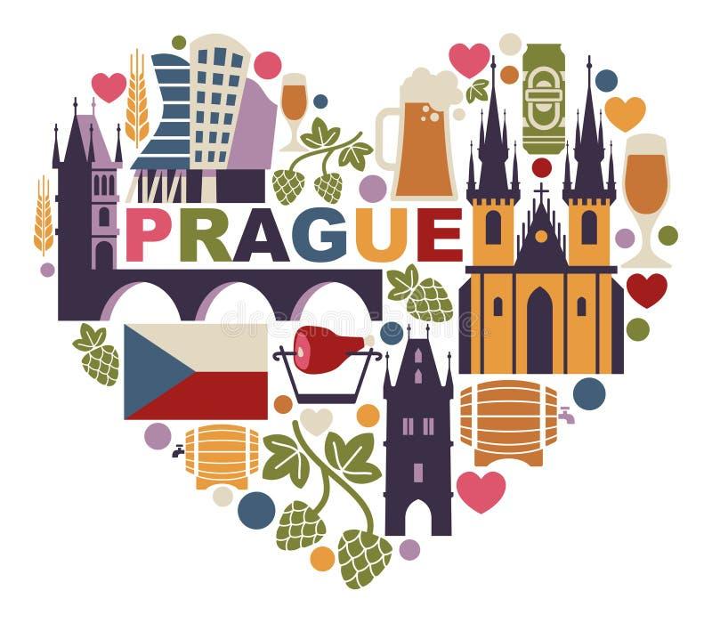 布拉格和捷克的传统标志 库存例证