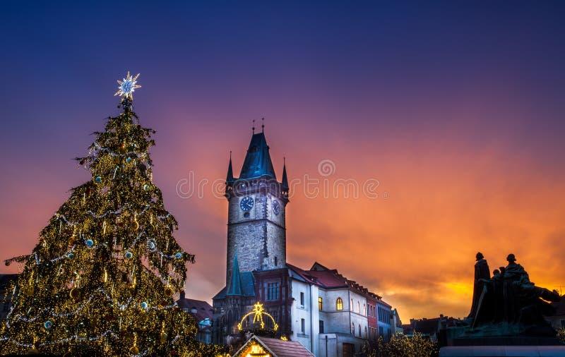 布拉格在老镇中心的圣诞节市场 库存照片