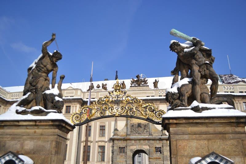 布拉格城堡入口  免版税库存图片
