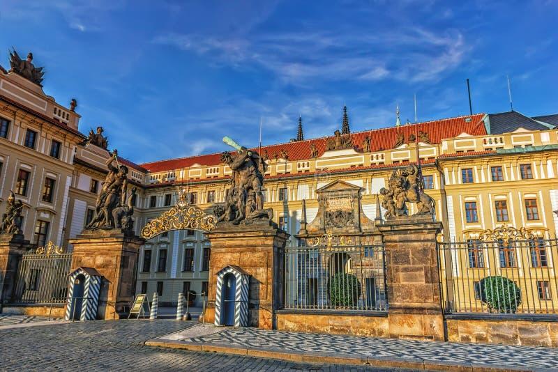 布拉格城堡正门,马赛厄斯门,没有人 图库摄影