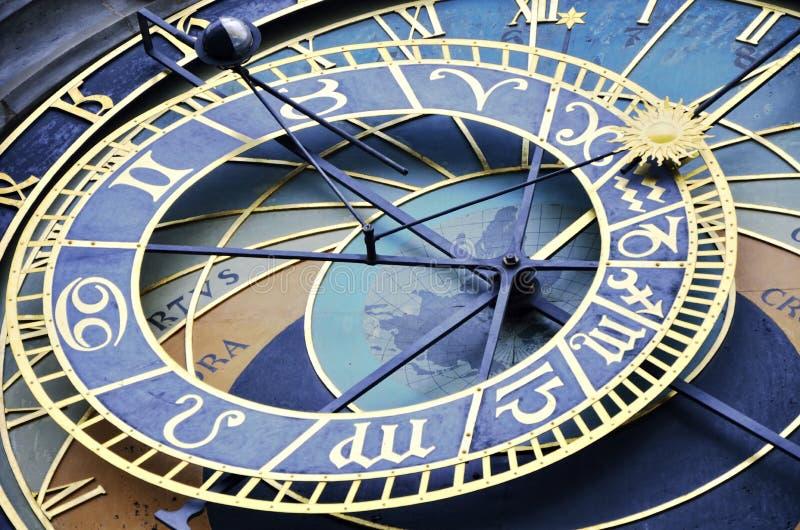 布拉格天文学蓝色时钟在老镇中心 免版税库存图片