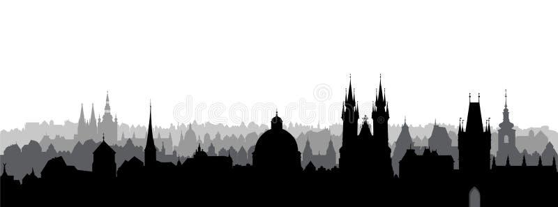 布拉格市,捷克语 地平线视图 与大教堂地标大厦的都市风景 向量例证