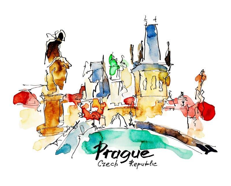 布拉格捷克上面水彩徒手画的略图  库存例证