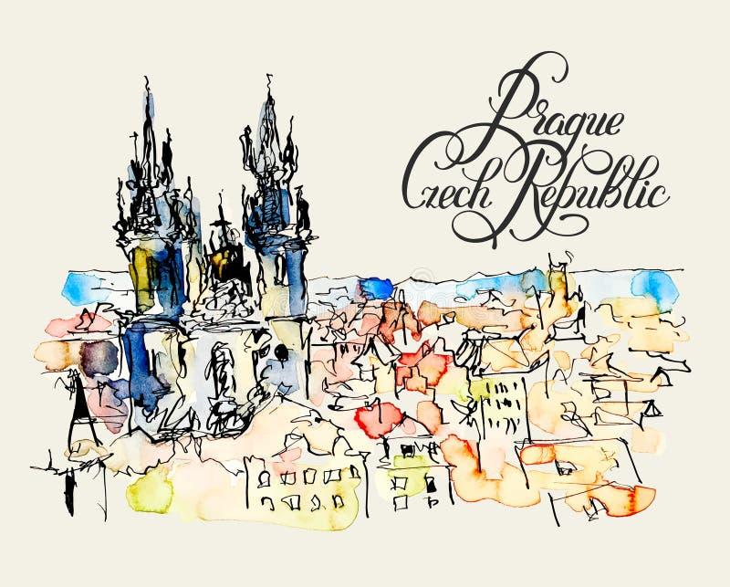 布拉格捷克上面水彩徒手画的略图  皇族释放例证