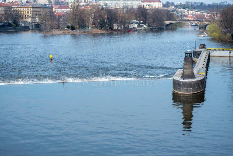 布拉格捷克,全景城市地平线 免版税库存图片