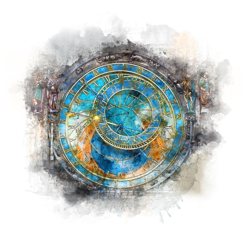 布拉格时钟& x28; Orloj& x29;-水彩艺术 免版税库存图片