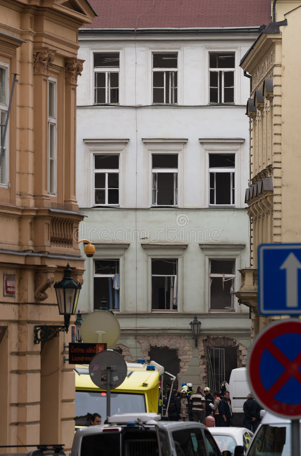 布拉格的在2013年4月29日的气体爆炸 库存照片