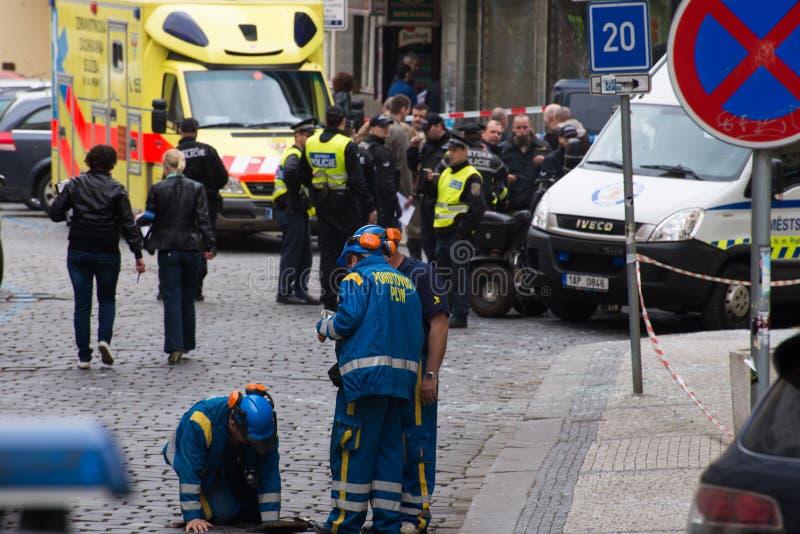 布拉格的在2013年4月29日的气体爆炸 图库摄影