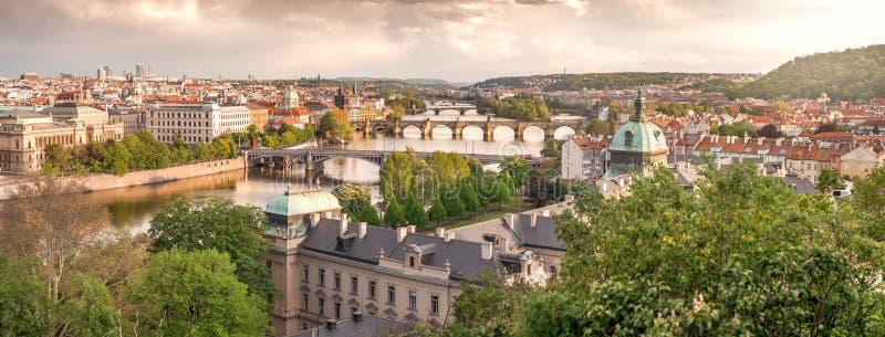 布拉格的日落,夏日城天际线 免版税图库摄影