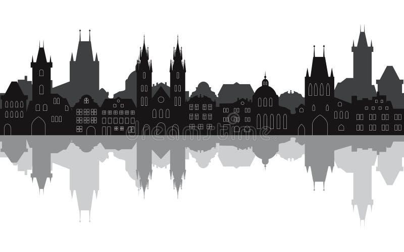 布拉格老镇的无缝的都市风景有反射的在水中 向量例证