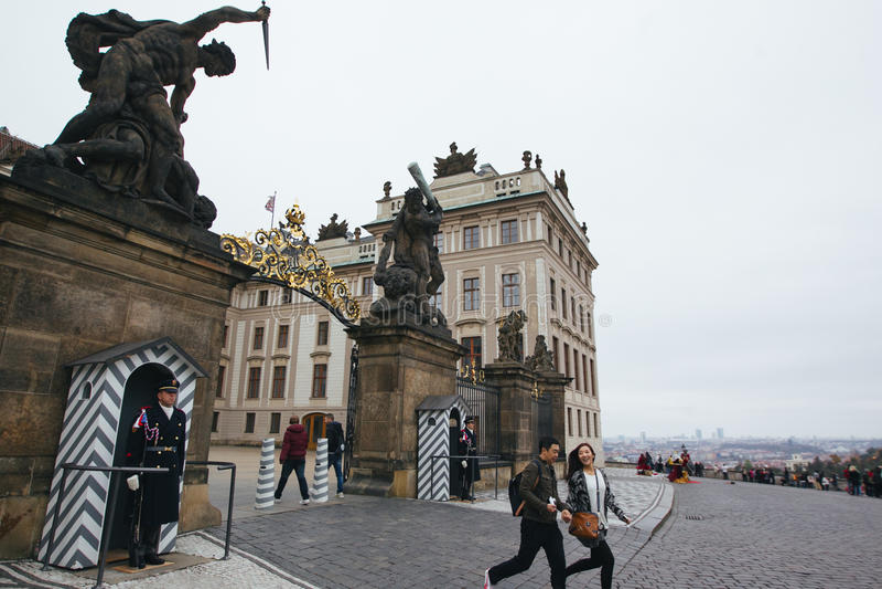 布拉格街道美丽的景色  库存图片