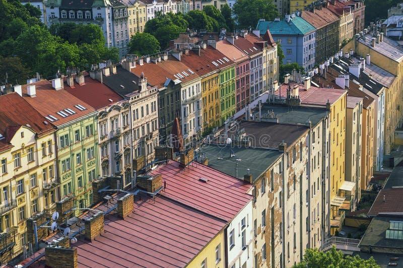 布拉格议院和屋顶 免版税库存照片