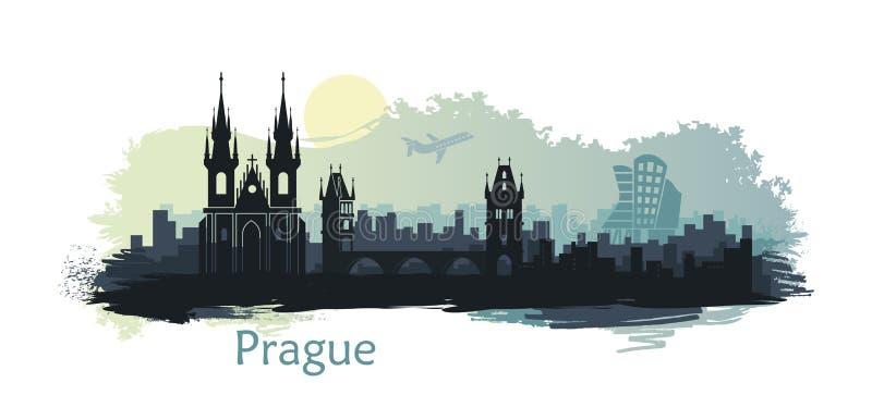 布拉格风格化风景有主要视域的在ssunrise 库存例证