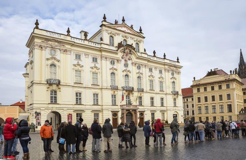 布拉格,捷克,Hradcany广场 大主教` s宫殿 库存图片