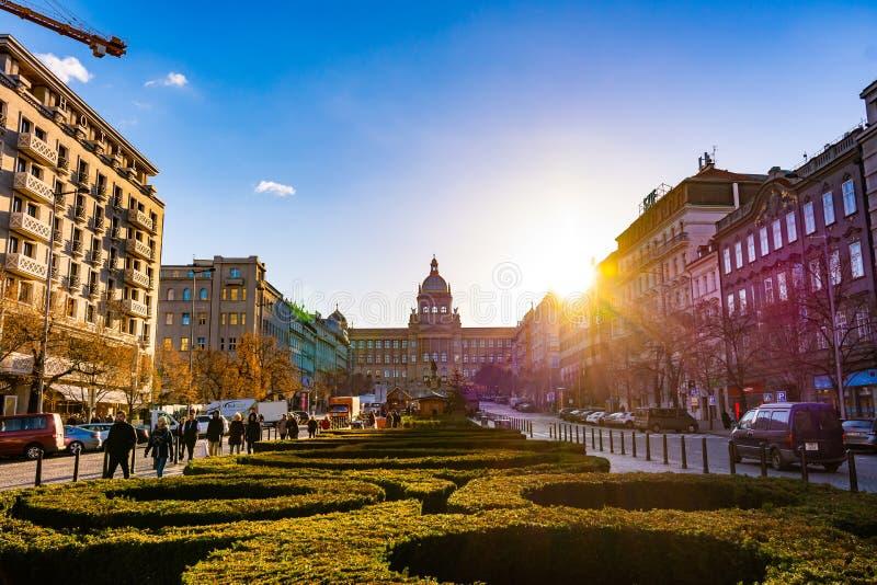 布拉格,捷克- 1 12 2018年:瓦茨拉夫广场Vaclavske namesti在历史国家博物馆附近的捷克雕象 免版税库存照片