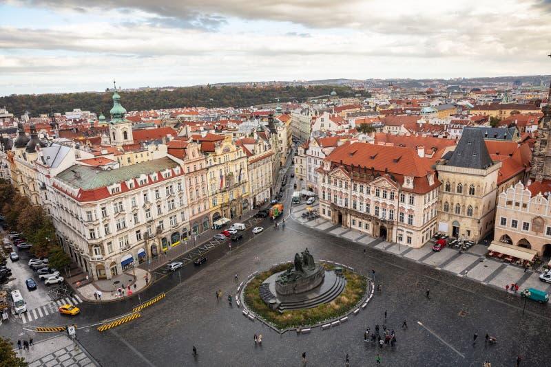 布拉格,老镇中心,鸟瞰图,捷克,阴天 库存照片