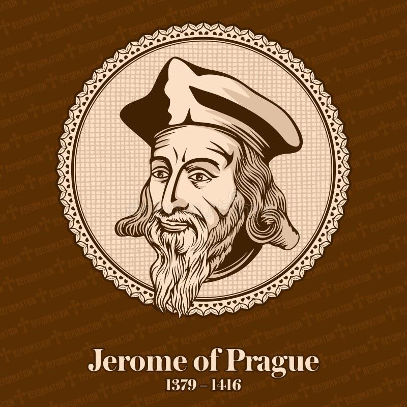 """布拉格1379 â€的热罗姆""""1416是捷克学者哲学家、神学家、改革者和教授 热罗姆是一个chie 库存例证"""