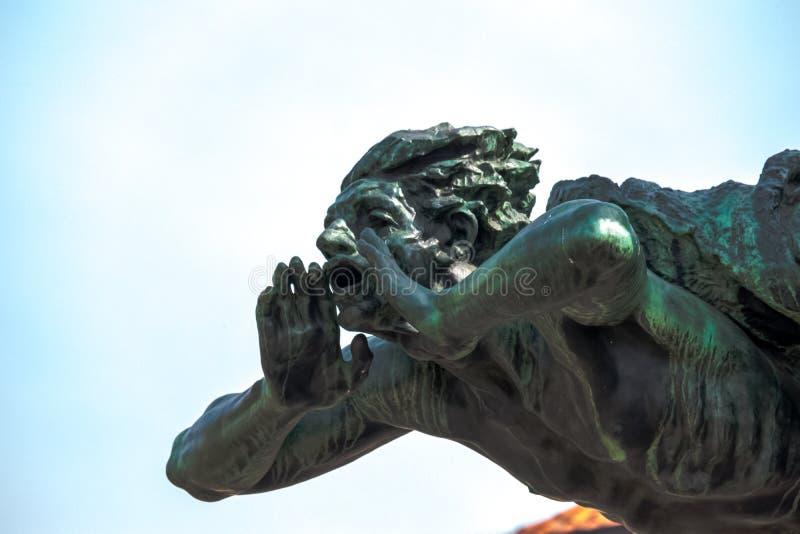 布拉格/捷克04 02 2019年:老雕象在布拉格 图库摄影
