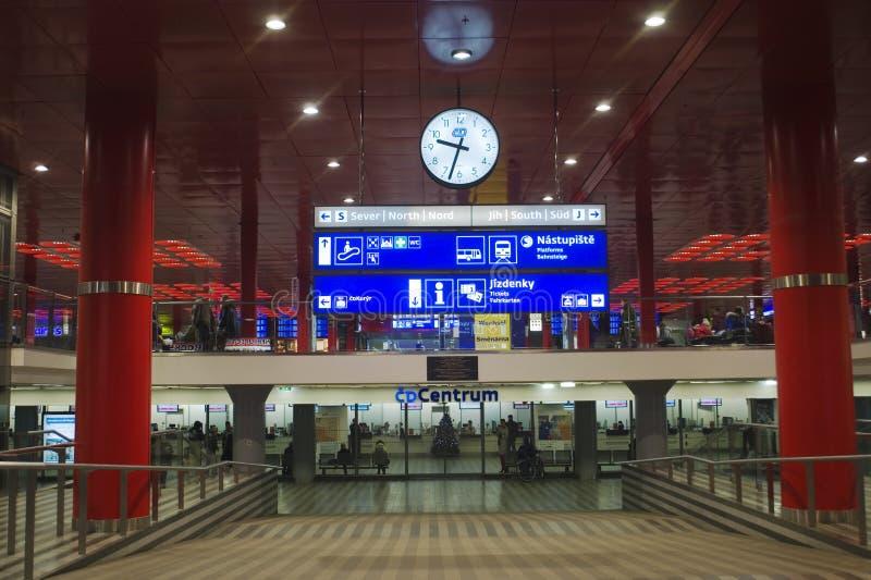 布拉格主要火车站-内部 库存照片