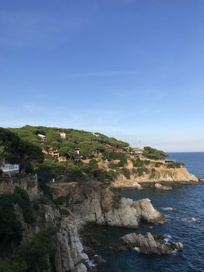 布拉瓦海岸,西班牙,欧洲 绿松石海 图库摄影