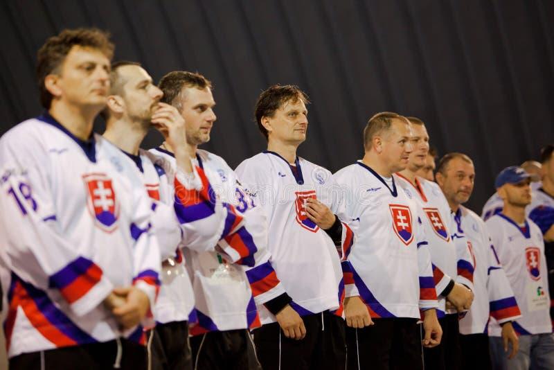 布拉索夫,斯洛伐克,2010年11月11-14:在街道&球曲棍球的第1位大师的世界杯 库存图片
