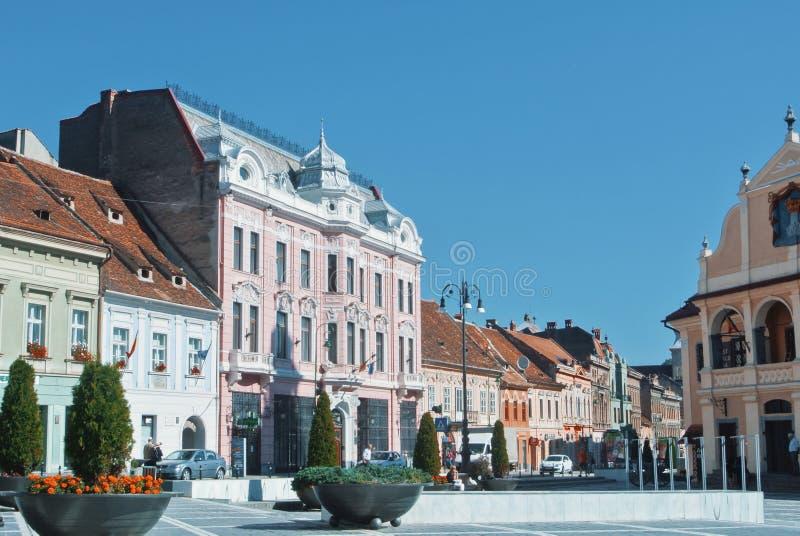 布拉索夫,罗马尼亚- 2017年8月1日:委员会正方形在布拉索夫cen 库存照片