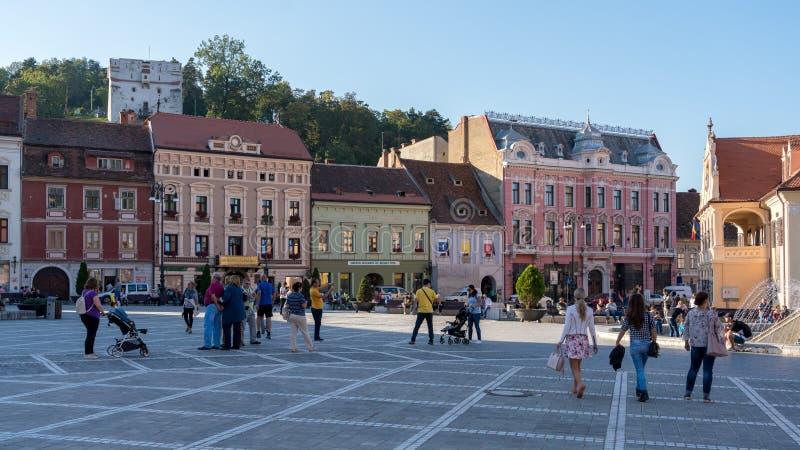 布拉索夫, TRANSYLVANIA/ROMANIA - 9月20日:镇s的看法 免版税库存照片