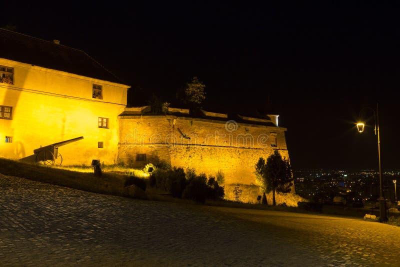 布拉索夫堡垒夜视图  图库摄影