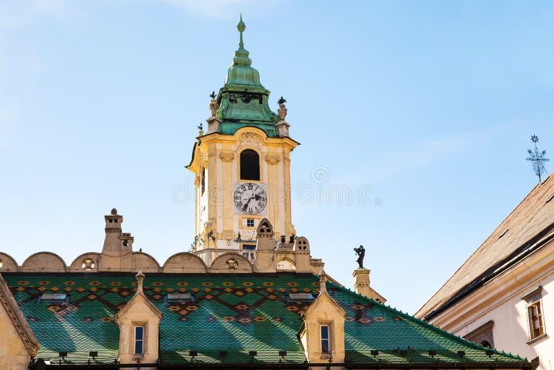 布拉索夫市-老城镇厅钟楼  图库摄影