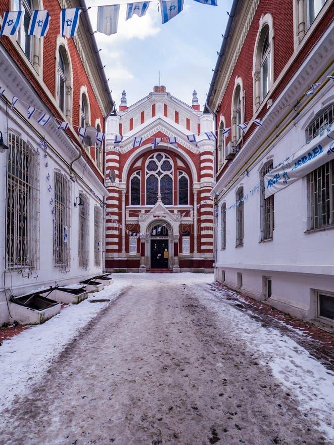 布拉索夫犹太教堂在冬天 免版税库存图片