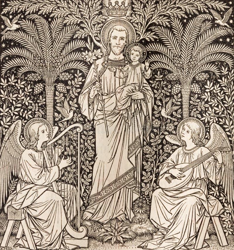 布拉索夫,斯洛伐克, 2016年11月- 21日:圣约瑟夫的石版印刷由未知的艺术家F的 M S 1889 库存图片