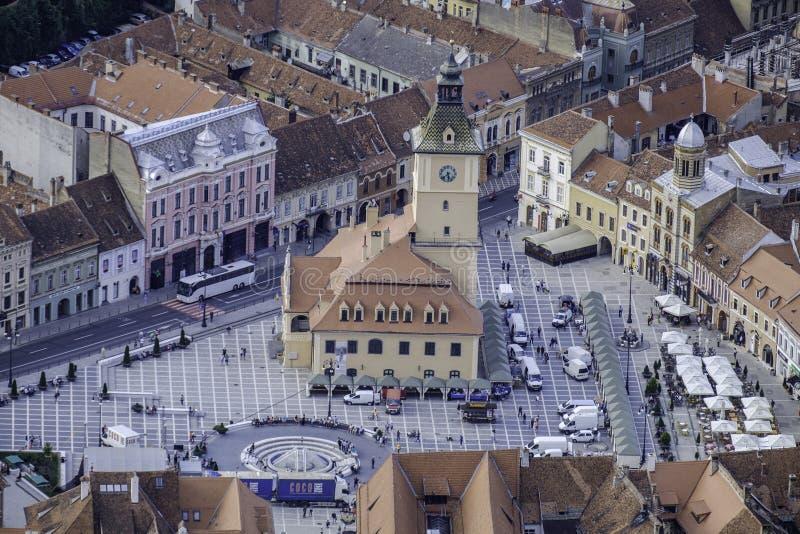 布拉索夫,罗马尼亚,欧洲,从登上坦帕的看法 图库摄影