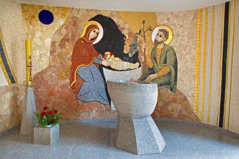 布拉索夫-诞生马赛克在圣巴斯弟盎大教堂的洗礼池的 图库摄影