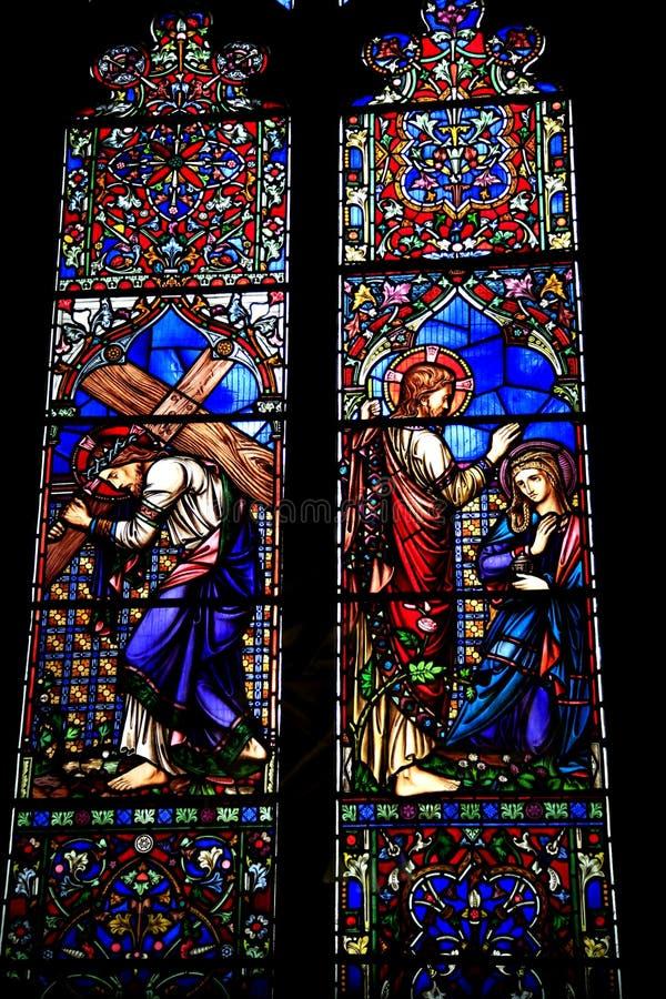 布料商附属小教堂窗口,小修道院教会 免版税库存图片