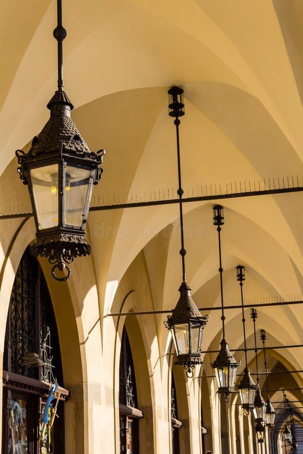 布料霍尔在老镇在Kracow,波兰,欧洲 库存照片