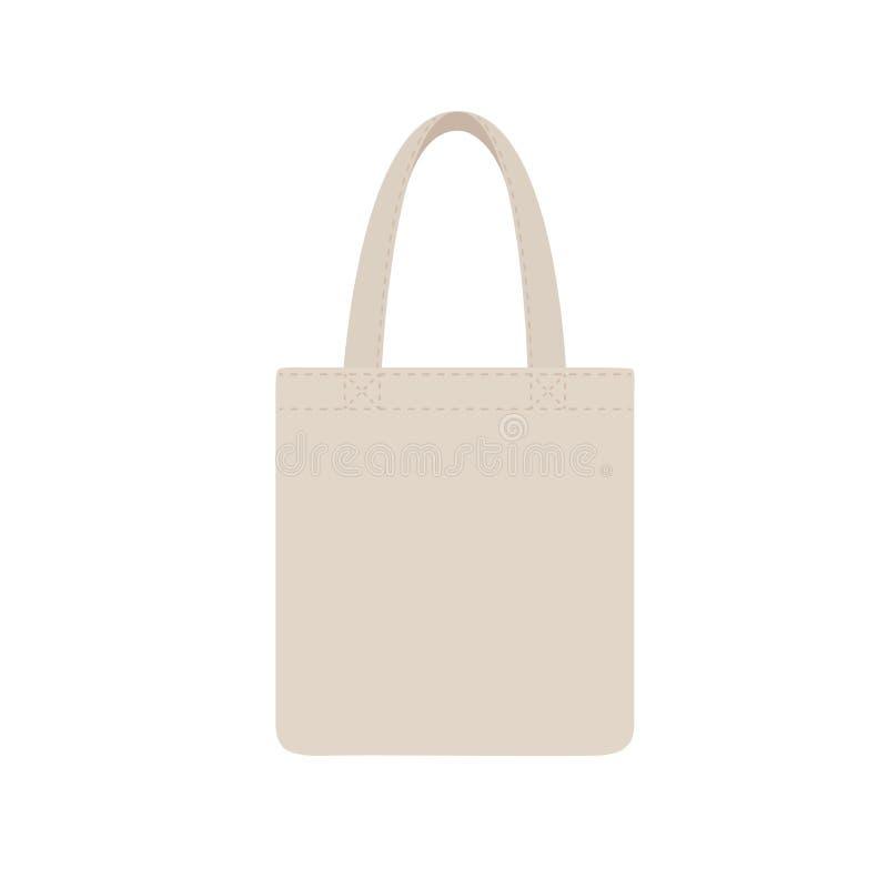 布料eco袋子空白或棉纱品布料袋子 购物的包裹 库存例证