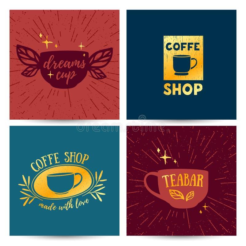 布景模板菜单,卡片,与减速火箭的葡萄酒商标的海报咖啡店的 向量例证