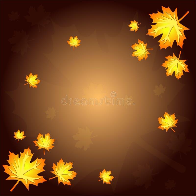 布朗与黄色和红色叶子的秋天背景 皇族释放例证
