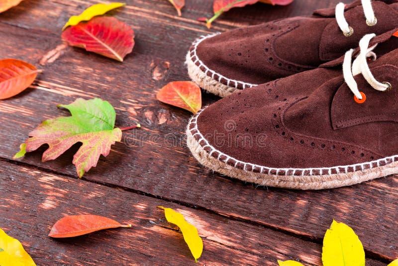布朗人绒面革解雇在木背景的帆布鞋 免版税库存照片