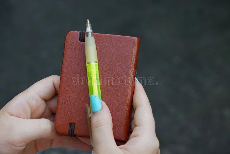 布朗关闭了笔记本和绿色笔在手上 免版税库存照片