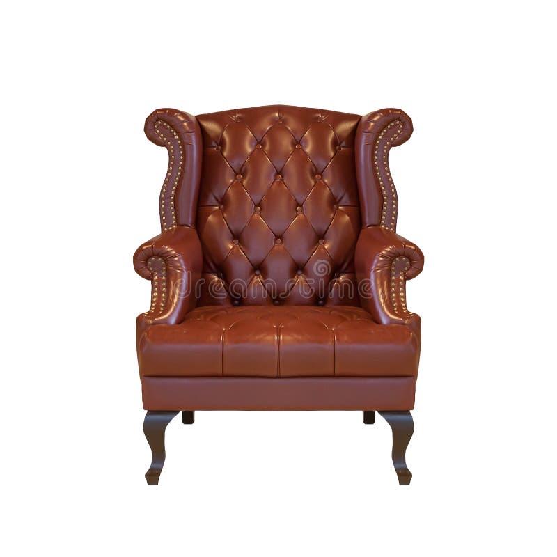 布朗古典样式扶手椅子沙发长沙发在whi的葡萄酒屋子里 库存图片