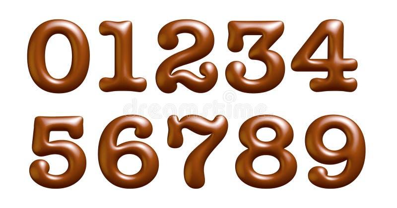布朗和光泽信件,字母表,数字,零,一,两,三,四,3d例证 皇族释放例证