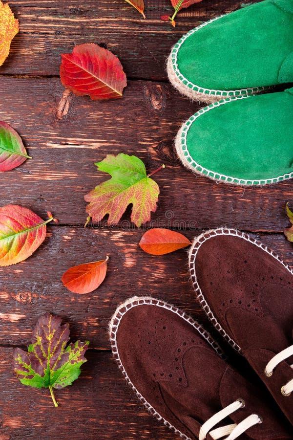布朗和没经验的工作人员绒面革在木的起动帆布鞋 图库摄影