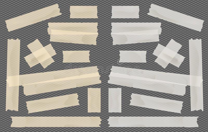 布朗和白色胶粘剂,稠粘,掩没,胶带,纸带为在被摆正的黑背景的文本编结 库存例证
