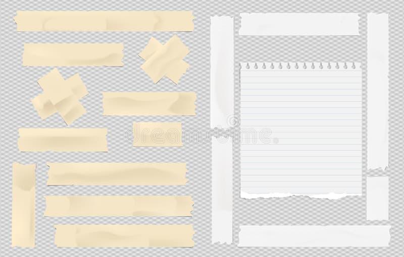 布朗和白色黏着性稠粘掩没,胶带,文本的被撕毁的笔记笔记本纸片断在被摆正的灰色背景 向量例证