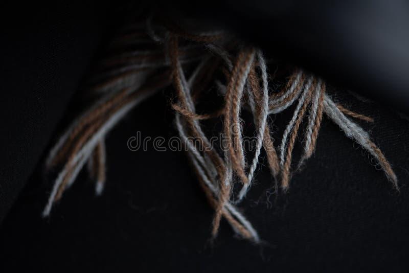 布朗和米黄围巾缨子在黑色大衣 免版税库存图片